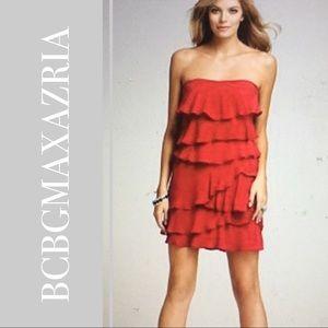 BCBGMAXAZRIA Ginger Strapless Tiered Ruffle Dress